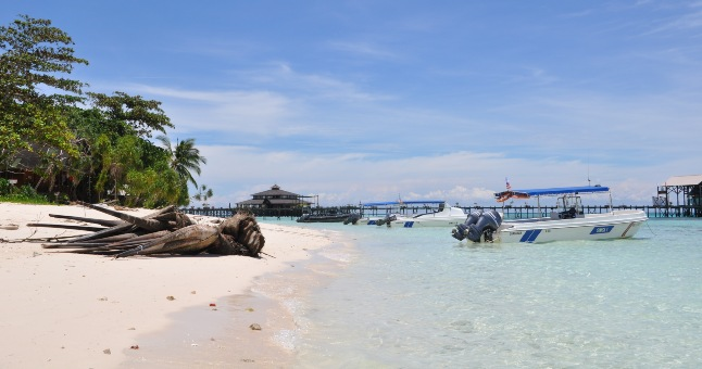 borneo beach with boats and palm trees