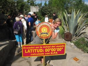 woman with equator sign
