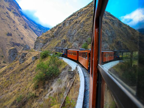 train going through mountain
