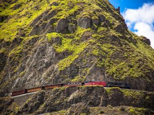 train on side of mountain