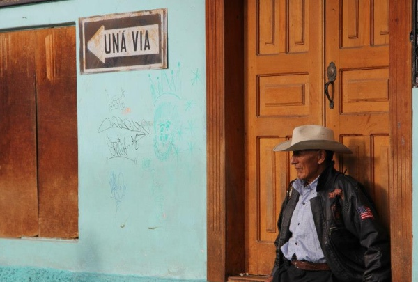 Local man in cowboy hat in Banos, Ecuador - photo credit Jules Engel