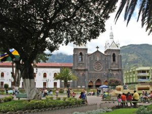 Town square with church in Banos, Ecuador - photo credit Jules Engel