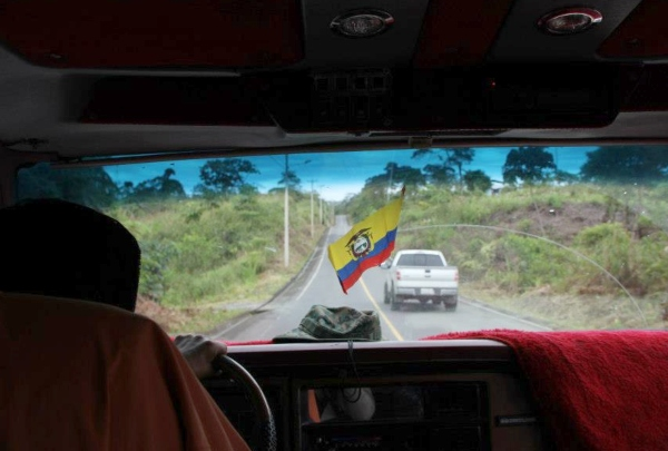 View from the backseat of car in Banos, Ecuador - photo credit Jules Engel