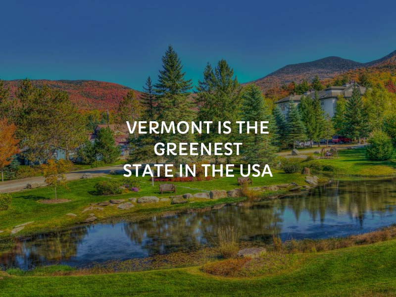 Graphic showing Vermont as the greenest state
