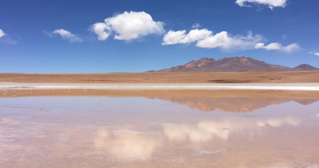 salt flats in Bolivia reflecting the sky