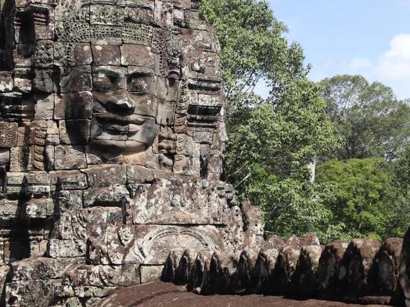 Siem Reap temple face carved in stone