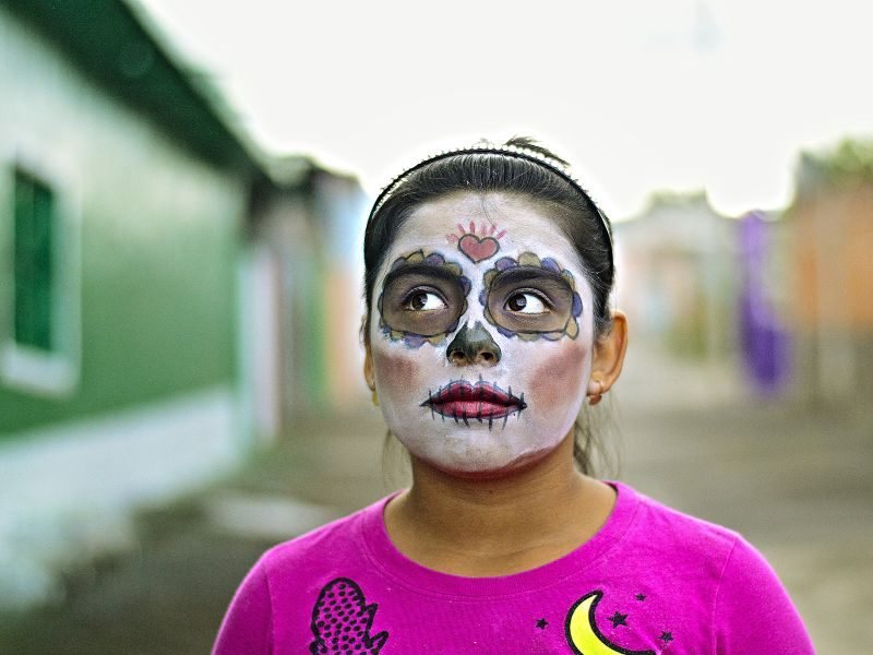 girl with mexican day of the dead make up