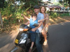 Family on a motorbike on holiday