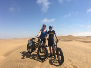 mother and son sand biking
