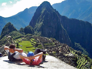 People sitting back at Machu Picchu