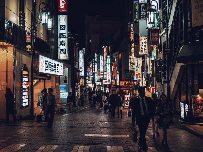 Tokyo streets at night time