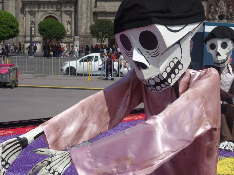 day of the dead skeleton puppet in parade