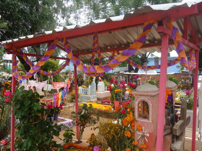 Decorated graveyard in Mexico