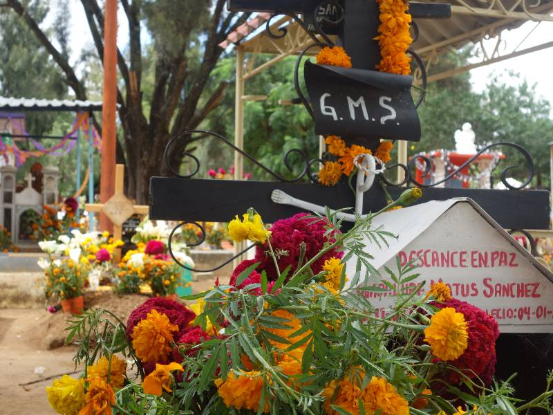 Graveyard in the day time decorated with marigold flowers