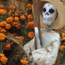 day of the dead skeleton with flowers marigolds decoration