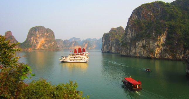 Vietnam bay with boats