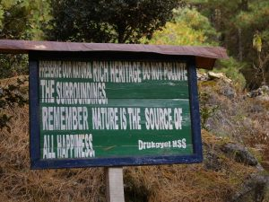 Bhutan sign encouraging an appreciation of nature