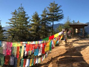 prayer flags and mountain scenery landscape