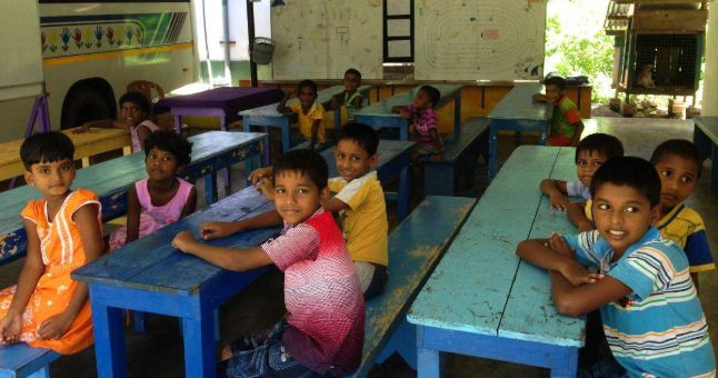 sri lankan children in school classroom
