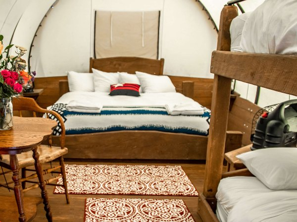 Beds inside wagon in Bear lake, USA