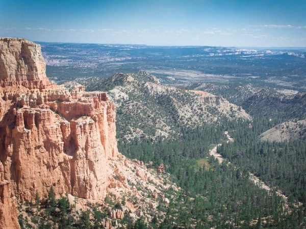Red rocks and green landscape in Bryce National Park, USA