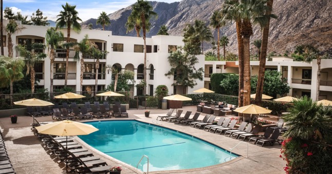 Palm Springs hotel with swimming pool, USA