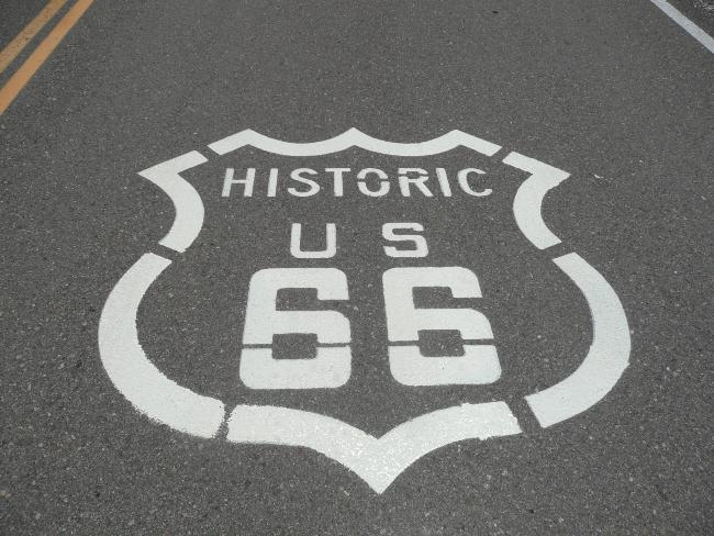 route 66 sign on road