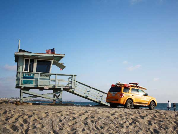 Lifeguard car on beach