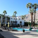 Pool and palm trees at Palm Springs hotel, USA