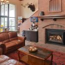 Lobby with fire at vernal lodge in usa