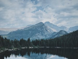 Mountain peaks over Bear Lake, USA