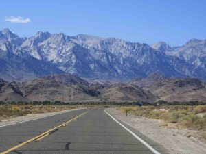 view of road and mountains in death valley