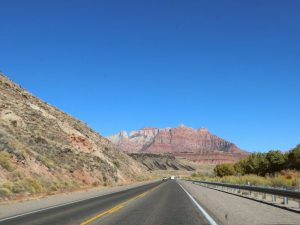 scenic views from an empty road in Zion national park