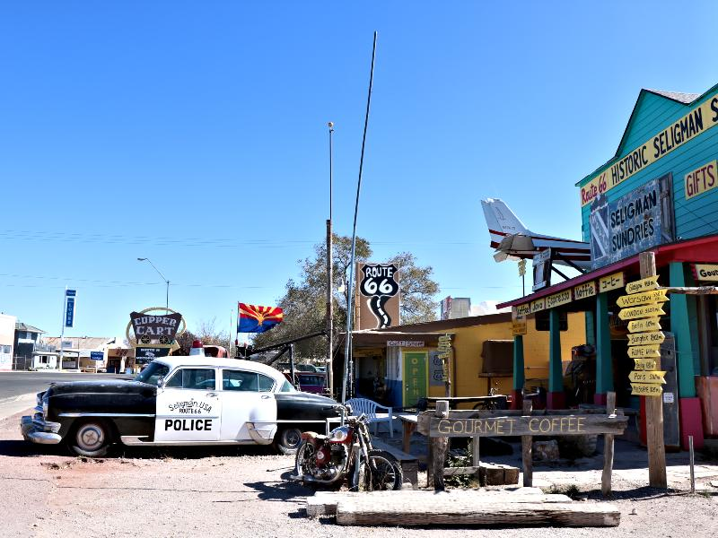 police car and route 66 route stop shop
