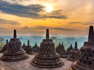 sunrise over borobudur temple