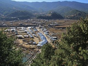View of Jakar in Central Bhutan