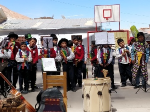 Children at school in traditional Bolivian dress