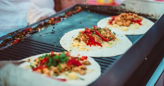 tacos on a street food grill