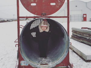 woman inside polar bear trap