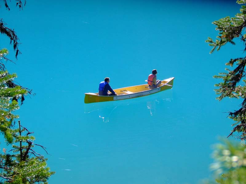 two people canoing in banff national park