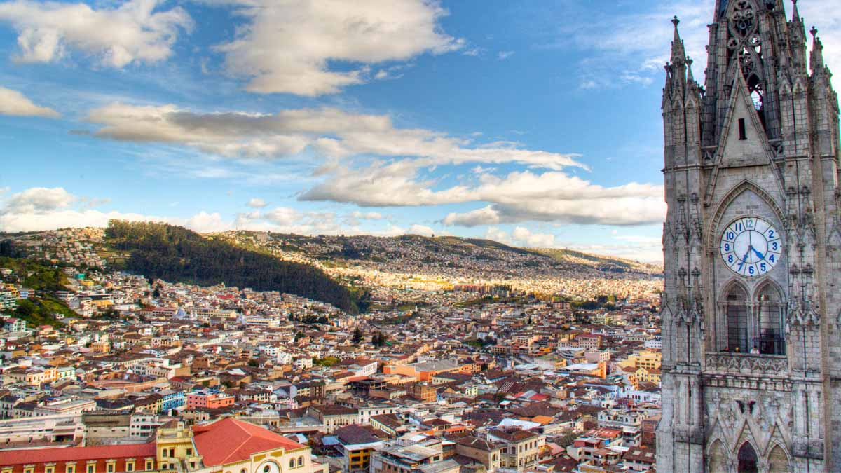 church and view of quito