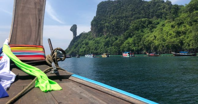 view of water and trees from thai boat