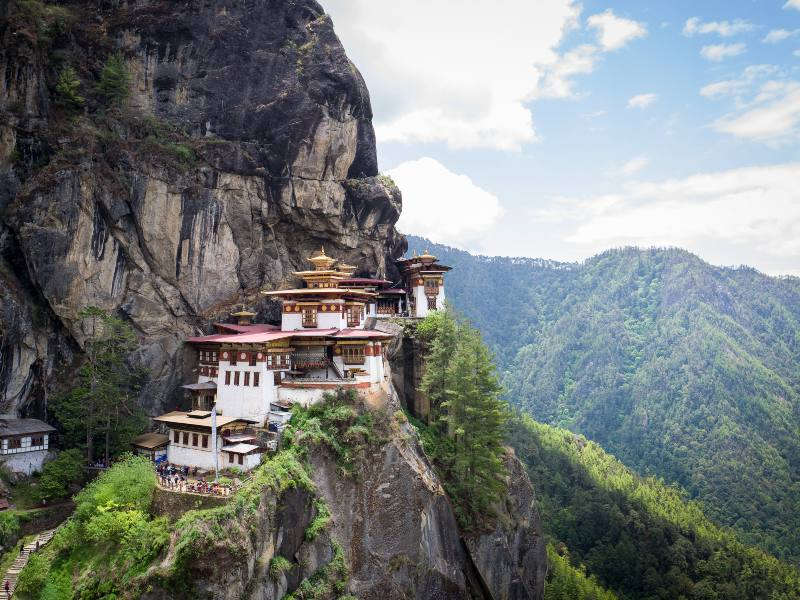 tigers nest monastery on the side of a cliff
