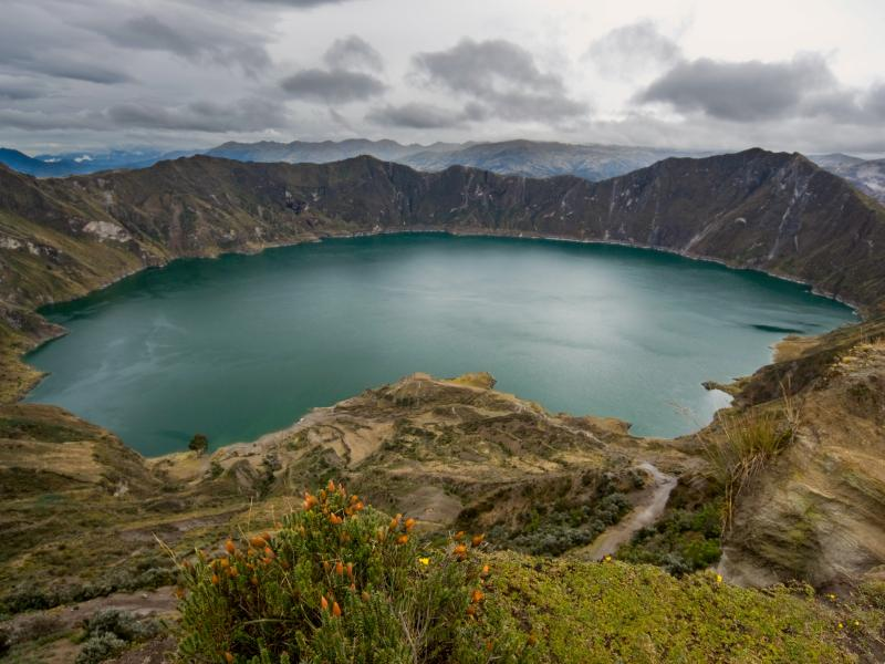 large crater lake in Quilotoa
