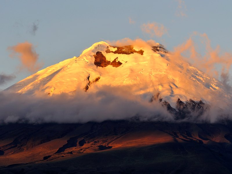 Cotopaxi volcano at sunset