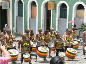 A band marching through the centre of Salvador de Bahia