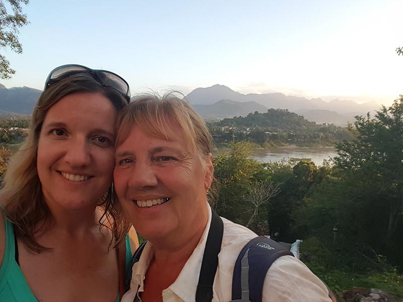 mother and daughter on holiday in laos