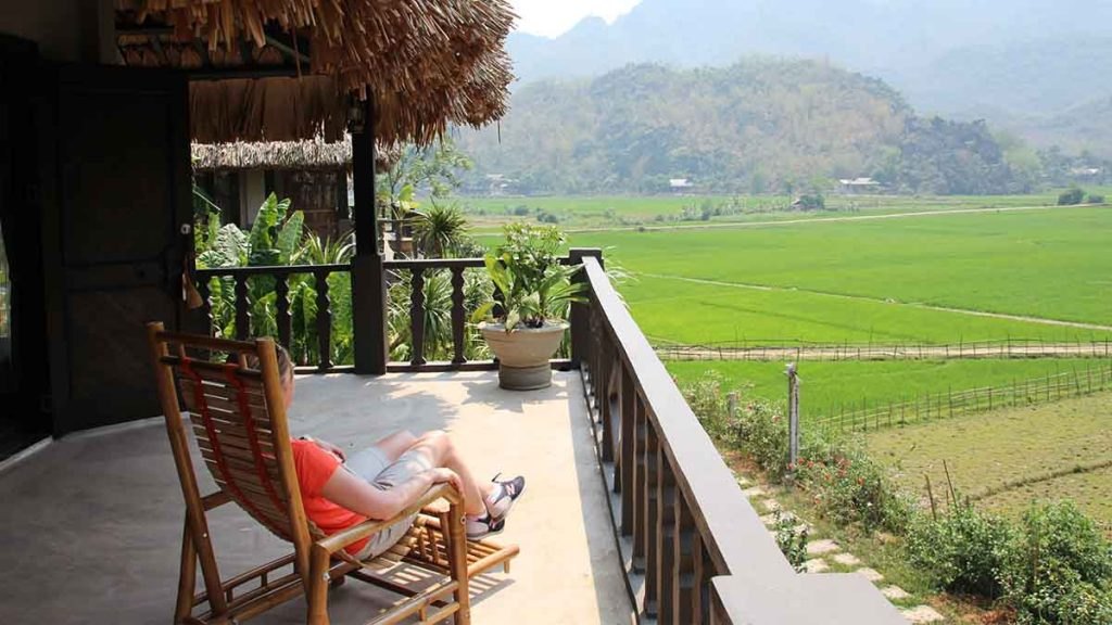 customer sitting on a veranda in bali
