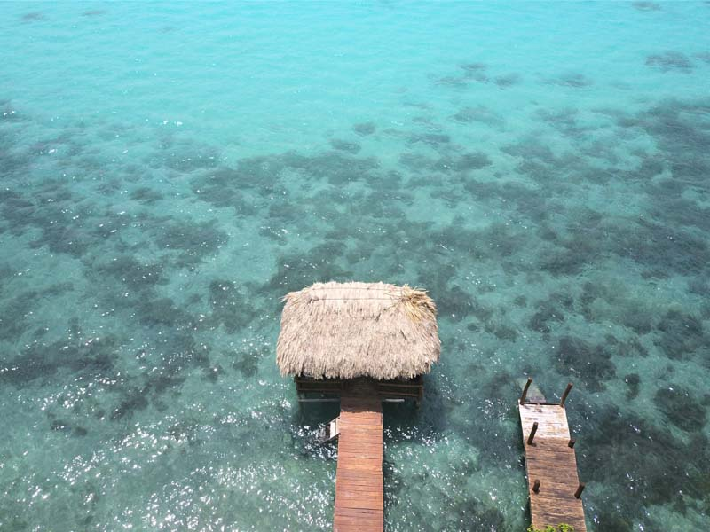 aerial view of Bacalar lagoon, Mexico