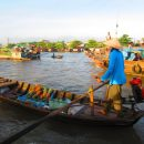 Cambodia mekong delta floating-bartering market whole sale boats